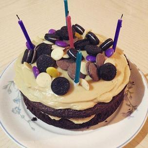 Baking for @_smiley_paul 'a birthday #bronwnir #cake with #peanutbutter #frosting @matildathemusical #matildabakeoff