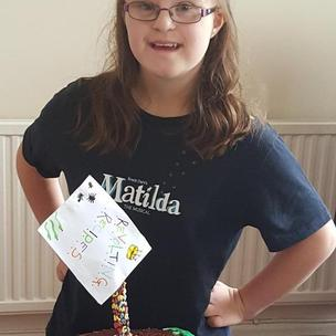 Tegan aged 14 and her Bruce Chocolate and Miss Honey cake. @MatildaMusical #MatildaBakeOff http://t.co/y7qbi80CnW