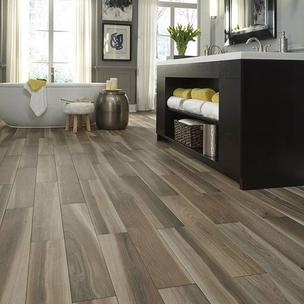 Image from lumberliquidators on 24 Mar 2018 with caption: Get the look of wood without the worry of water! All in-stock Avella tile is up to 50% OFF! Shop Brindle Wood Natural with the link in bio・・・・・#woodlooktile #waterprooftile #porcelain #flooringinspiration #bathroominspiration #avella #spring #springstyle #springmakeover