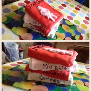 This Matilda cake was made by my 12 year old who is a HUGE Matilda fan. We hope you enjoy this stack of books which Matilda can gobble up!