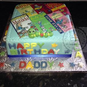 A cake for a little girls daddy's birthday who reads these books to her every night