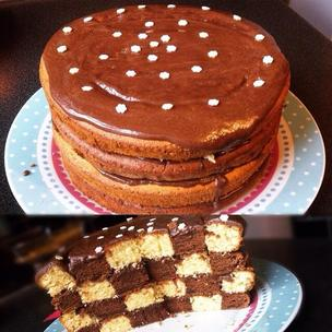 Chocolate and vanilla checkerboard cake topped with a chocolate glaze